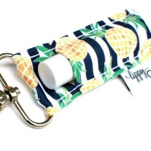 Accessories - Navy and White Stripe with Pineapples Lippy Clip